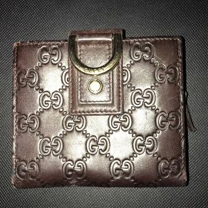 Guccissma Leather Brown D Ring Wallet